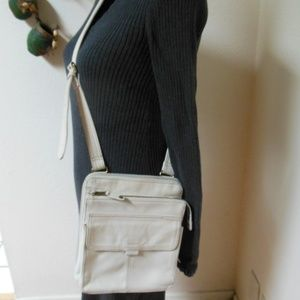 White Leather Fossil Cross body Bag